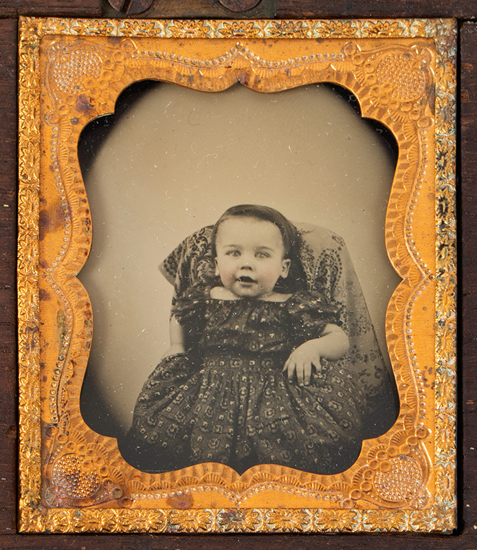 Five Ambrotype Portraits, Mother Holding infant & Three Siblings, Unique Case Walnut Case, 2 DAVIS & CO'S / AMBROTYPE ROOMS labels, photo 4