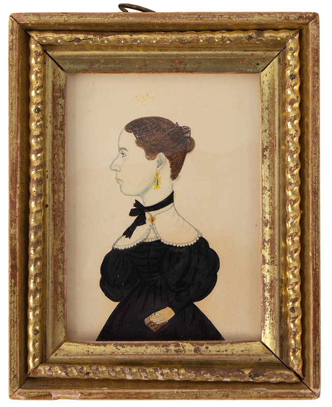 Watercolor, Profile Portrait of Lady Holding Book, Attrib. to Mary A. Fowler Da Lee Wife of Justus Da Lee, entire view