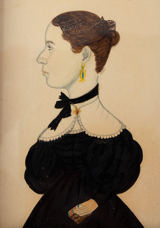 Watercolor, Profile Portrait of Lady Holding Book, Attrib. to Mary A. Fowler Da Lee Wife of Justus Da Lee, entire view sans frame