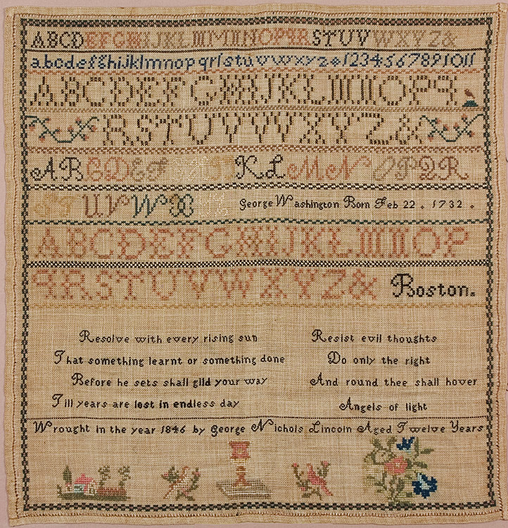"""Needlework Sampler Wrought by Boston BOY, Very Few by Boys Extant """"Wrought in the year 1856 by George Nichols Lincoln Aged Twelve Years"""", close up view"""