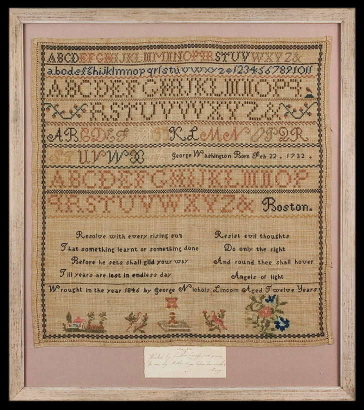 """Needlework Sampler Wrought by Boston BOY, Very Few by Boys Extant """"Wrought in the year 1856 by George Nichols Lincoln Aged Twelve Years"""", entire view"""
