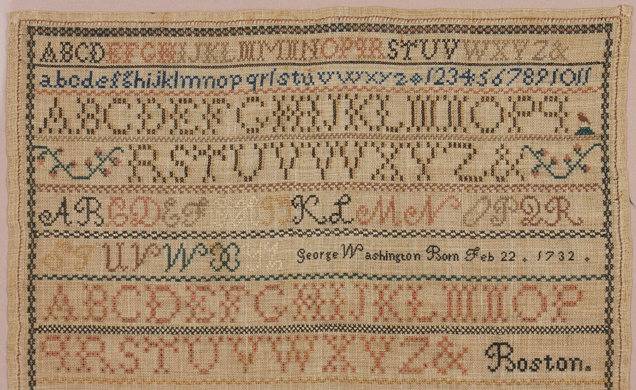 """Needlework Sampler Wrought by Boston BOY, Very Few by Boys Extant """"Wrought in the year 1856 by George Nichols Lincoln Aged Twelve Years"""", top half detail"""