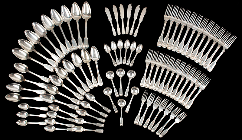 Chinese Silver Flatware, 82 Pieces, Fiddle, Thread & Shell 64-Pieces [CU] Cutshing, Canton, Circa 1825, Monogram: BLG - USN 24-Pieces [TC] Tuck Chang & Co., Ltd, Circa 1900, Monogram: MCG 1 Salad Fork [CUT] Cutching, 1850-1855 All impressed with Pseudo-Hallmarks., group view