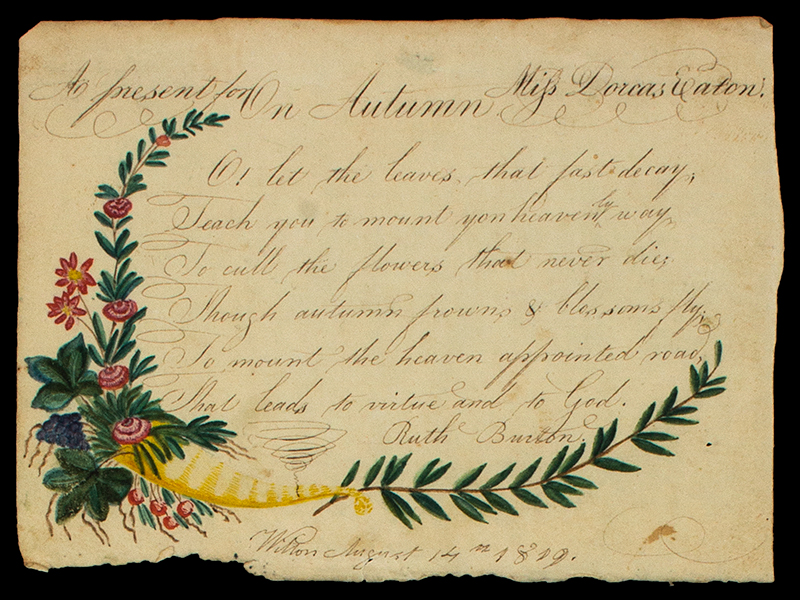 Rewards of Merit, Eaton Sisters, 1813 to 1819, Watercolor & Ink on Paper Wilton, New Hampshire, detail view 1