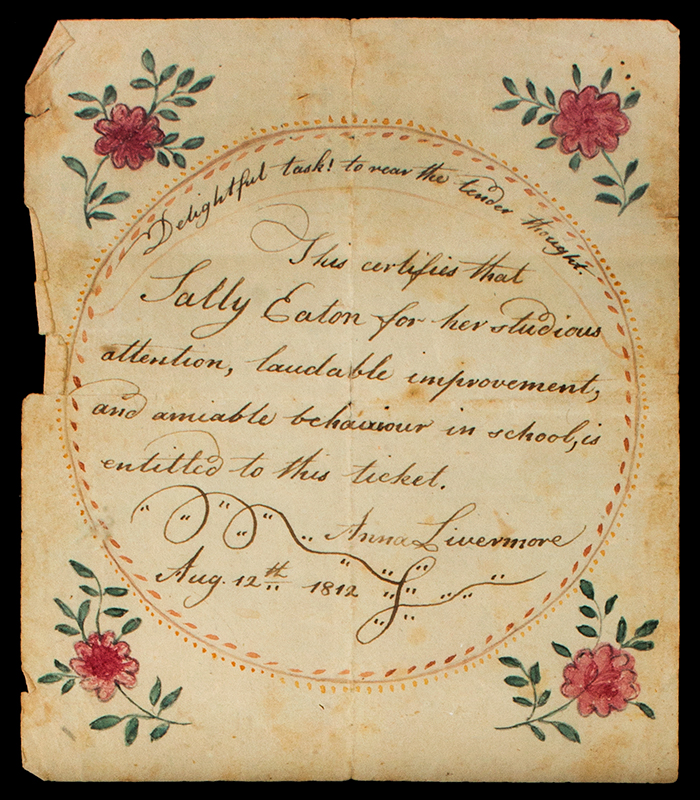 Rewards of Merit, Eaton Sisters, 1813 to 1819, Watercolor & Ink on Paper Wilton, New Hampshire, detail view 2