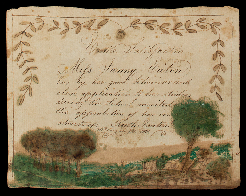 Rewards of Merit, Eaton Sisters, 1813 to 1819, Watercolor & Ink on Paper Wilton, New Hampshire, detail view 3