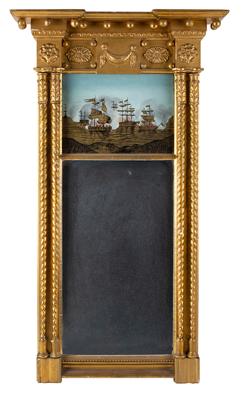 Federal Revival Pier Mirror, McDonough's Victory, Giltwood, Eglomise, Paired Columns Likely Boston or New York, entire view