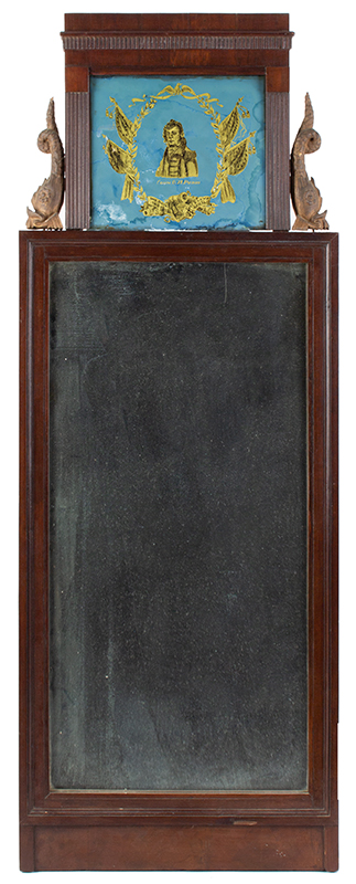 Federal Mirror, Commodore O.H. Perry, Carved Dolphins, Eglomise Tablet, Rare Form, entire view
