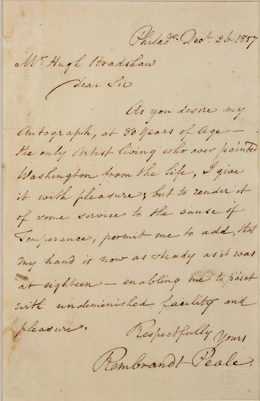 Rembrandt Peale (1778-1860), Letter Signed, One Page, Philadelphia, Dec. 26, 1857, letter view