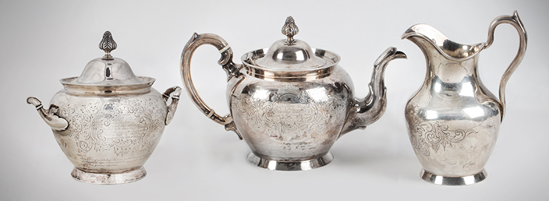Historic Maritime Presentation Silver, Coffeepot, Sugar Bowl, Milk Pitcher, entire view 1