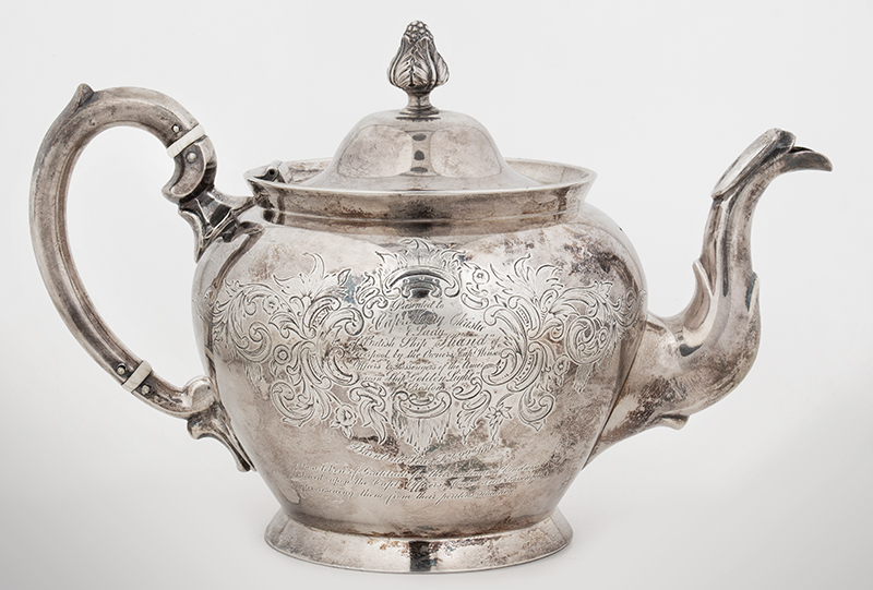 Historic Maritime Presentation Silver, Coffeepot, Sugar Bowl, Milk Pitcher, entire view 2