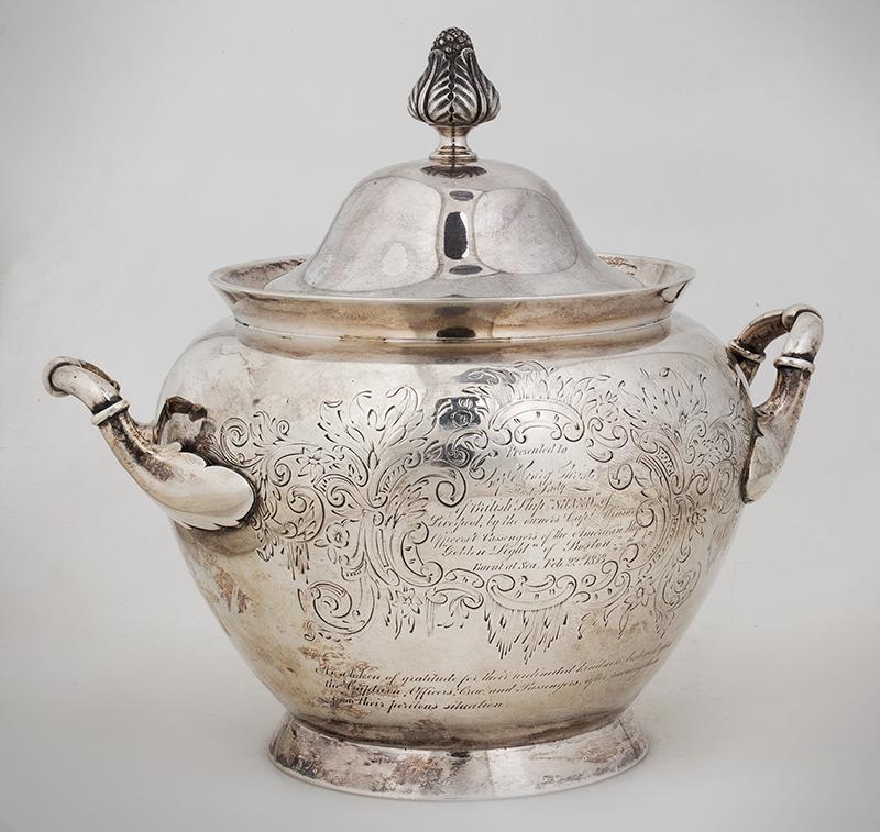 Historic Maritime Presentation Silver, Coffeepot, Sugar Bowl, Milk Pitcher, entire view 7