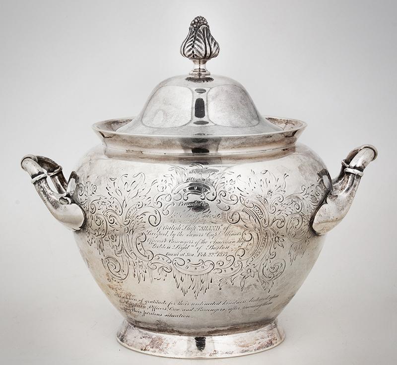 Historic Maritime Presentation Silver, Coffeepot, Sugar Bowl, Milk Pitcher, entire view 8