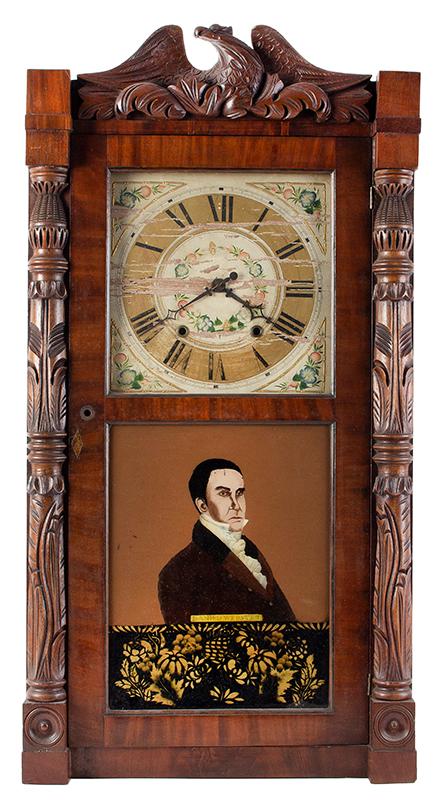 Mantel Clock, Daniel Webster Portrait Tablet, Carved Columns & Eagle Pediment Goshen, Connecticut, Active 1831-1836, entire view