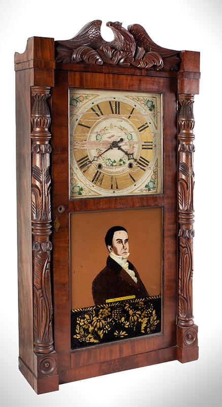 Mantel Clock, Daniel Webster Portrait Tablet, Carved Columns & Eagle Pediment Goshen, Connecticut, Active 1831-1836, entire view 2
