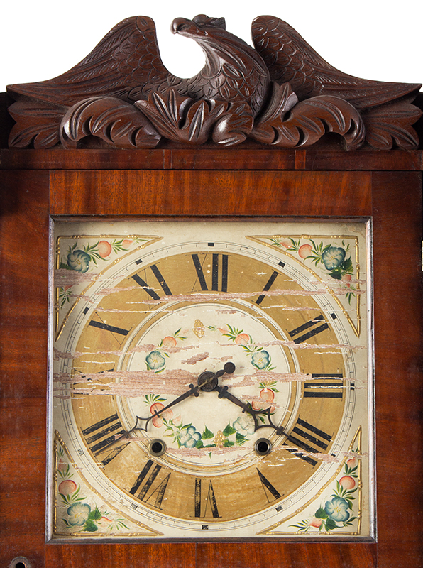 Mantel Clock, Daniel Webster Portrait Tablet, Carved Columns & Eagle Pediment Goshen, Connecticut, Active 1831-1836, detail view 1