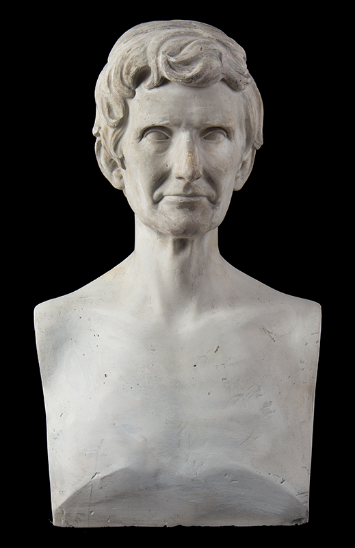 """Abraham Lincoln Plaster Portrait Bust, No Beard, Signed: """"J.S. Sculptor – 1860"""", entire view 2"""