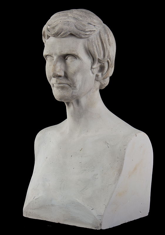 """Abraham Lincoln Plaster Portrait Bust, No Beard, Signed: """"J.S. Sculptor – 1860"""", entire view 4"""