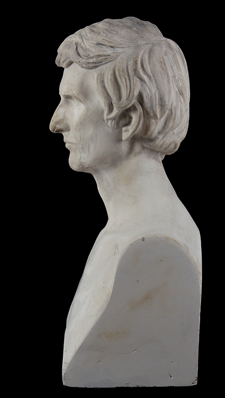 """Abraham Lincoln Plaster Portrait Bust, No Beard, Signed: """"J.S. Sculptor – 1860"""", entire view 5"""