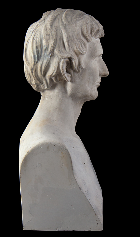 """Abraham Lincoln Plaster Portrait Bust, No Beard, Signed: """"J.S. Sculptor – 1860"""", entire view 6"""