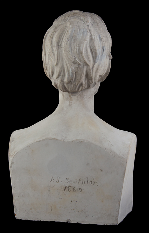 """Abraham Lincoln Plaster Portrait Bust, No Beard, Signed: """"J.S. Sculptor – 1860"""", entire view 7"""