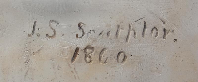 "Abraham Lincoln Plaster Portrait Bust, No Beard, Signed: ""J.S. Sculptor – 1860"", artist detail"