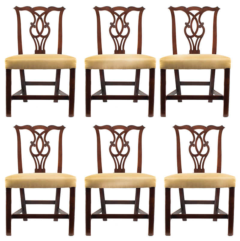 Chippendale Side Chairs, Matched Set of Six, Carved Crest, Pierced Splat Likely English, George III, set view
