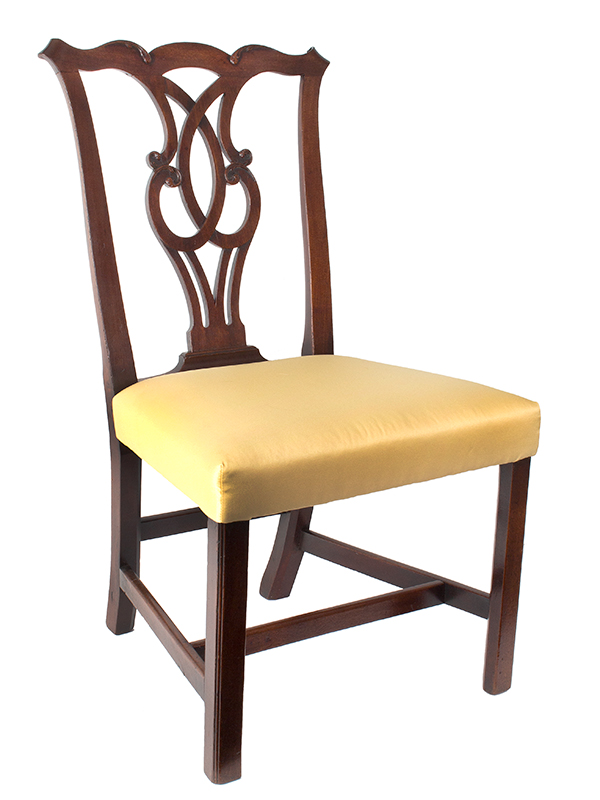 Chippendale Side Chairs, Matched Set of Six, Carved Crest, Pierced Splat Likely English, George III, entire view 1