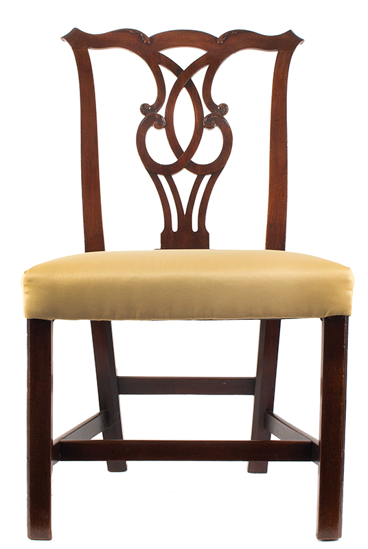 Chippendale Side Chairs, Matched Set of Six, Carved Crest, Pierced Splat Likely English, George III, entire view 2