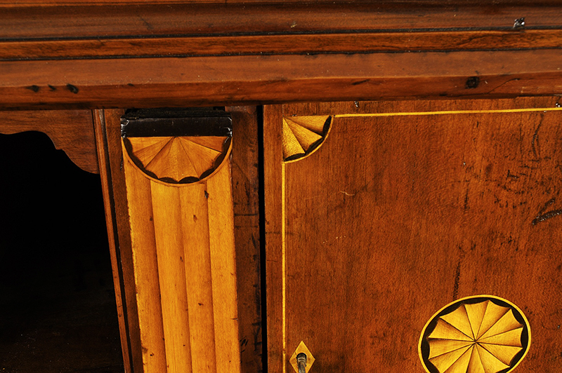 Chippendale Inlaid Desk and Bookcase, Possibly Nathan Lumbard Southern Worcester County, Possibly Sutton, Massachusetts, detail view 7