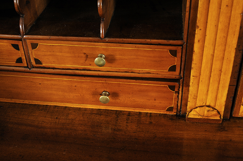 Chippendale Inlaid Desk and Bookcase, Possibly Nathan Lumbard Southern Worcester County, Possibly Sutton, Massachusetts, detail view 8