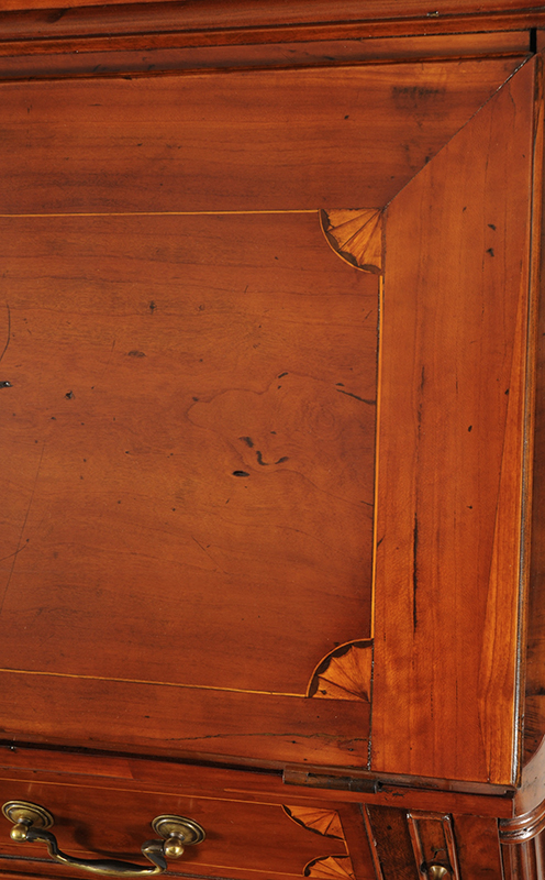 Chippendale Inlaid Desk and Bookcase, Possibly Nathan Lumbard Southern Worcester County, Possibly Sutton, Massachusetts, detail view 10