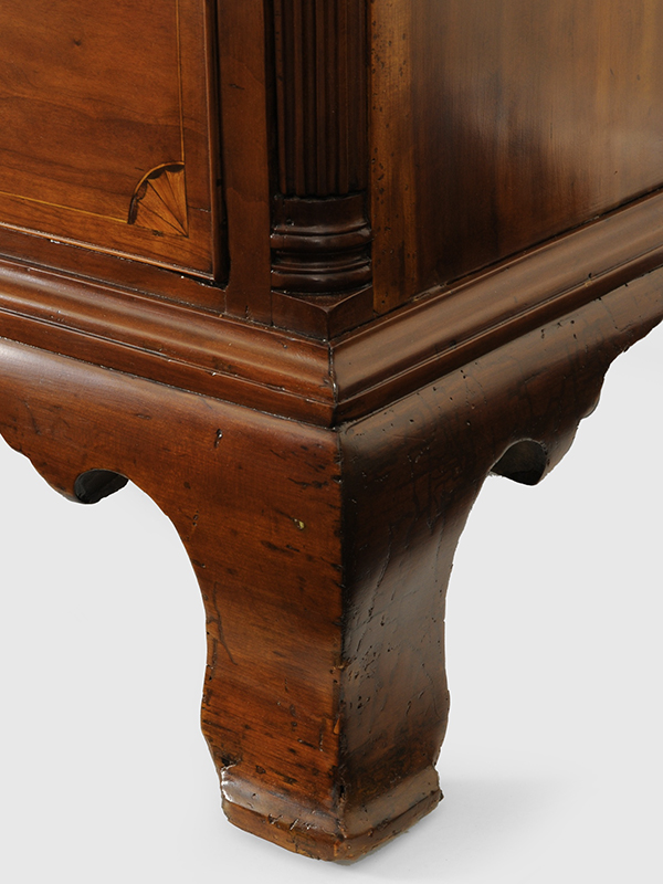 Chippendale Inlaid Desk and Bookcase, Possibly Nathan Lumbard Southern Worcester County, Possibly Sutton, Massachusetts, detail view 12