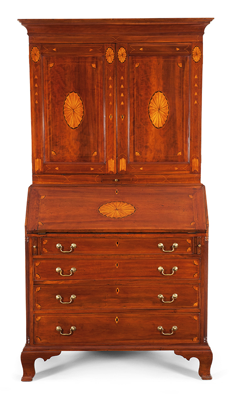 Chippendale Inlaid Desk and Bookcase, Possibly Nathan Lumbard Southern Worcester County, Possibly Sutton, Massachusetts, entire view 1