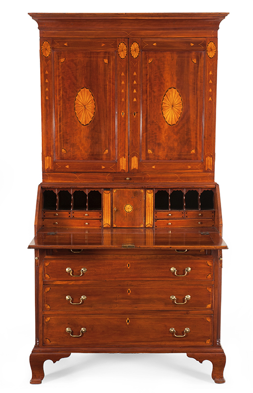 Chippendale Inlaid Desk and Bookcase, Possibly Nathan Lumbard Southern Worcester County, Possibly Sutton, Massachusetts, entire view 2