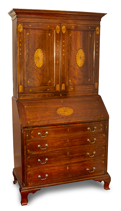Chippendale Inlaid Desk and Bookcase, Possibly Nathan Lumbard Southern Worcester County, Possibly Sutton, Massachusetts, entire view 3
