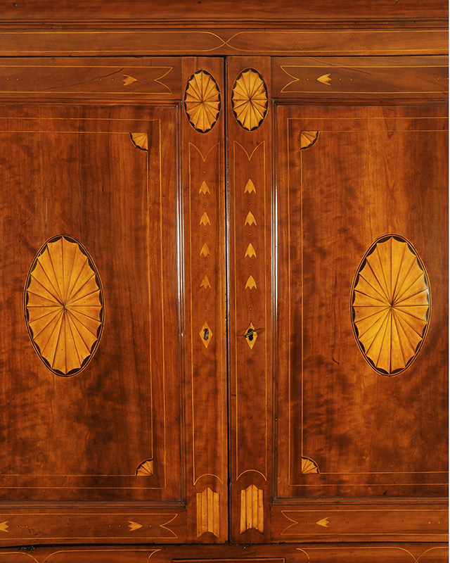 Chippendale Inlaid Desk and Bookcase, Possibly Nathan Lumbard Southern Worcester County, Possibly Sutton, Massachusetts, detail view 4
