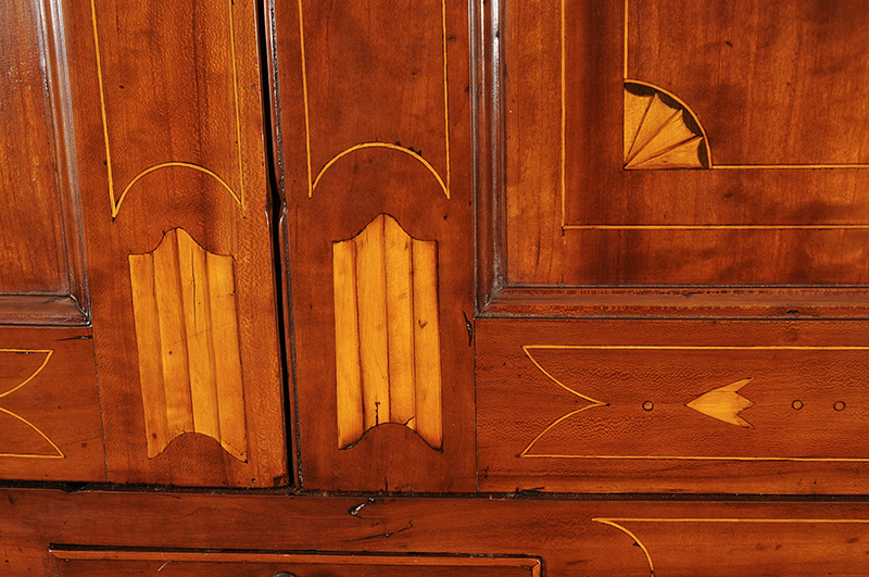 Chippendale Inlaid Desk and Bookcase, Possibly Nathan Lumbard Southern Worcester County, Possibly Sutton, Massachusetts, detail view 6