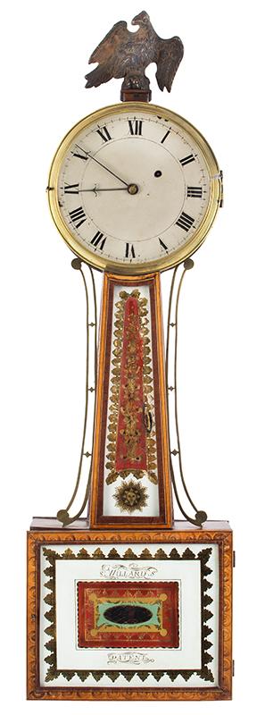Federal Patent Timepiece, Banjo Clock, Attributed to Simon Willard, ORIGINAL GLASSES Roxbury, Massachusetts, entire view