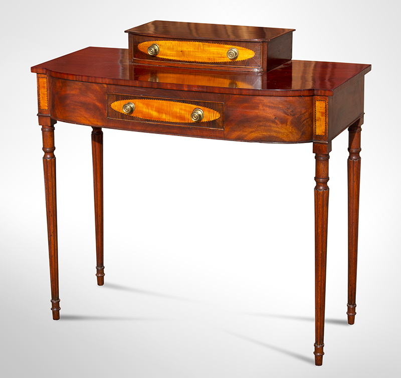 Federal Dressing Table, Bowed Front, Blocked Ends, Inlaid Portsmouth, New Hampshire, or North Shore of Massachusetts, entire view 1