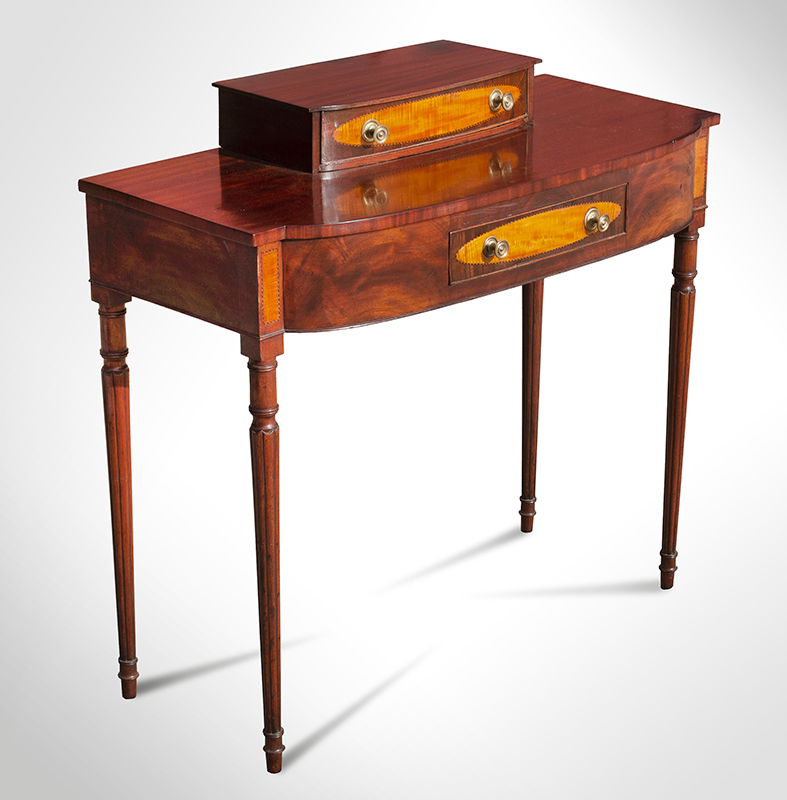 Federal Dressing Table, Bowed Front, Blocked Ends, Inlaid Portsmouth, New Hampshire, or North Shore of Massachusetts, entire view 2