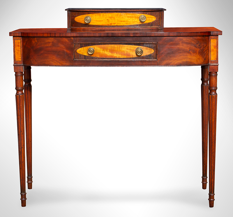 Federal Dressing Table, Bowed Front, Blocked Ends, Inlaid Portsmouth, New Hampshire, or North Shore of Massachusetts, entire view 3