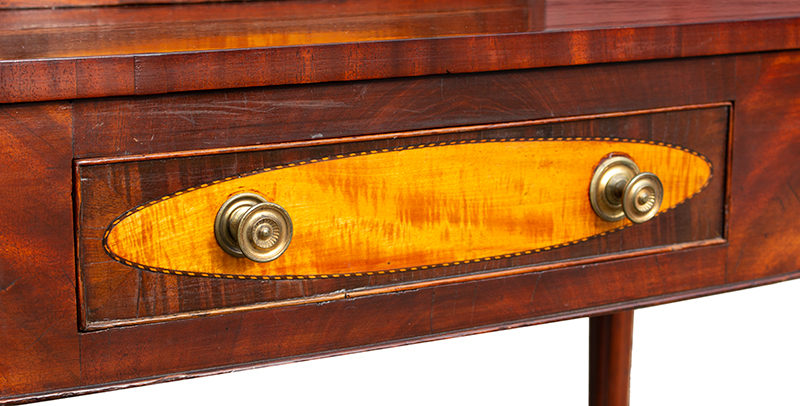 Federal Dressing Table, Bowed Front, Blocked Ends, Inlaid Portsmouth, New Hampshire, or North Shore of Massachusetts, detail view 1