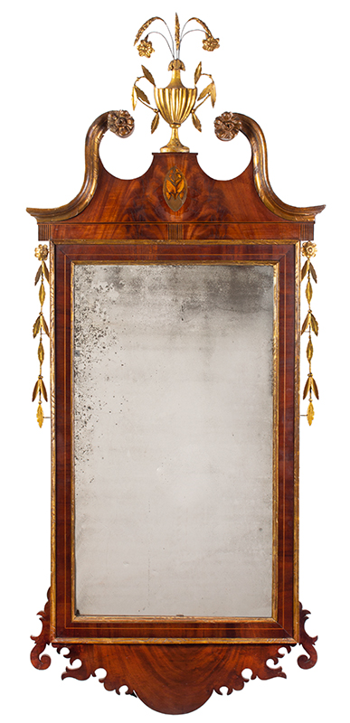 A Fine and Early Federal Inlaid Mirror, New York City, entire view