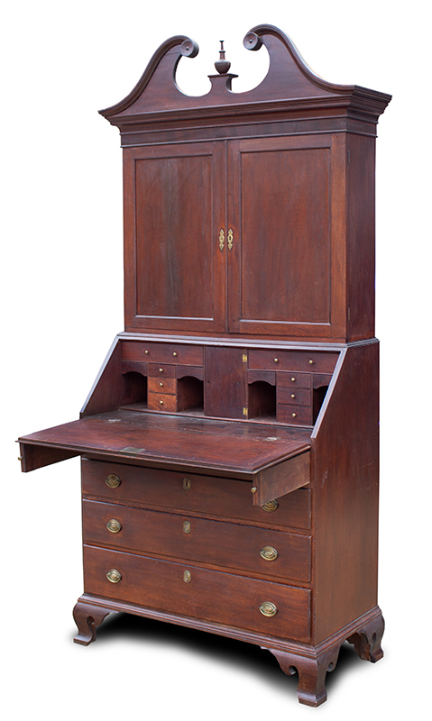 A Fine Connecticut Desk and Bookcase, Mahogany, Original Signed Hardware Likely the Original Surface, entire view