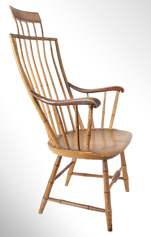 Samuel Gragg Windsor Comb Back Armchair, Underside of Seat Branded – Gragg – Boston, entire view 2