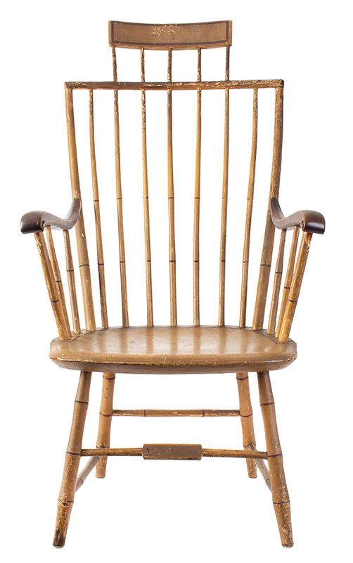 Samuel Gragg Windsor Comb Back Armchair, Underside of Seat Branded – Gragg – Boston, entire view 4
