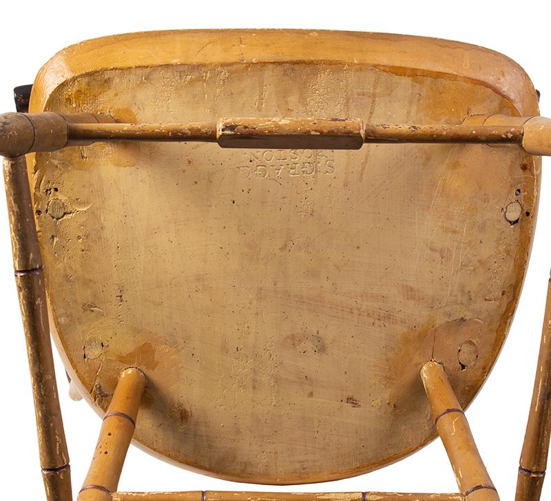 Samuel Gragg Windsor Comb Back Armchair, Underside of Seat Branded – Gragg – Boston, bottom view
