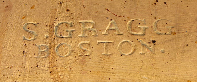 Samuel Gragg Windsor Comb Back Armchair, Underside of Seat Branded – Gragg – Boston, brand