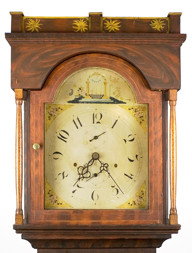 Antique Tall Clock, Paint Decorated, Silas Hoadley Movement Outstanding decorated case of a form related to those housing movements by James Cole, Rochester, New Hampshire. We are attributing the case to the Rochester area…not to Cole, clock face